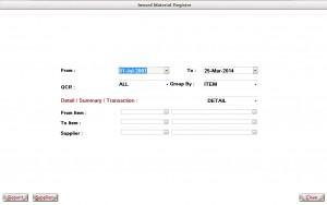 Inward Material Register